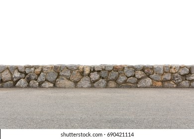 Isolated grey stone wall on the road. [ With work path ]