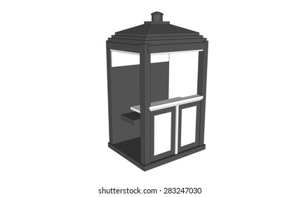 isolated grey vintage guardhouse on white background