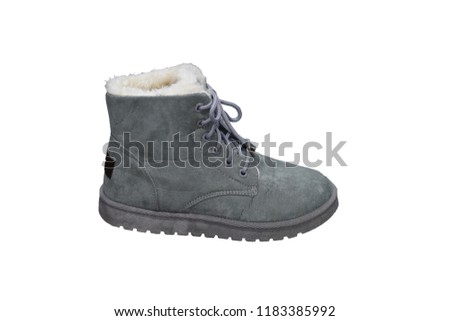 8dc5c82268 Isolated Grey Warm Boot Warm Shoe Stock Photo (Edit Now) 1183385992 ...