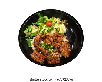 Isolated grilled pork on rice, japanese style.