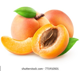 Isolated group of apricots. Two whole apricot, piece, half with leaves isolated on white background with clipping path