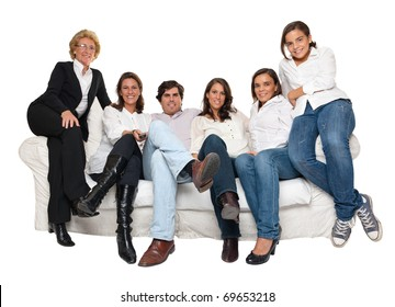 Isolated group of family members sitting on a sofa watching TV