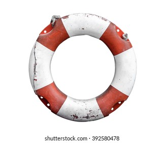Isolated Grungy Lifebuoy Or Life Preserver With Rope On White Background