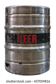 Isolated Grungy Metal Beer Keg Or Cask Or Barrel