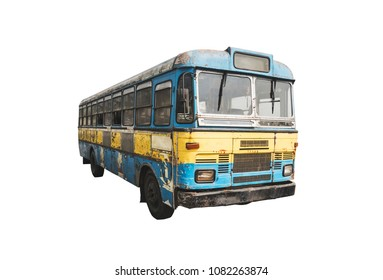 An Isolated Grungy Old Bus Or vintage rusty Coach. Yellow blue bus in profile at an angle on isolated white background.