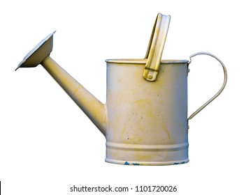 Isolated Grungy Old Vintage Retro Yellow Watering Can