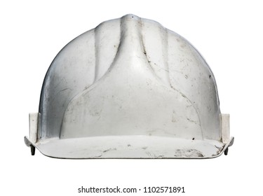 Isolated Grungy Old White Workmans Hard Hat