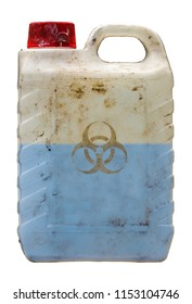 Isolated Grungy Plastic Container Holding A Blue Toxic Biohazard Waste Liquid