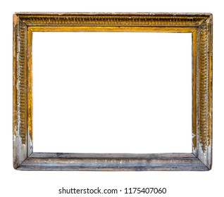 Isolated Grungy Rustic Ornate Peeling Gold Colored Art Frame