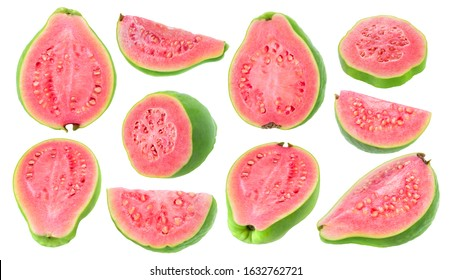 Isolated guava pieces. Collection of cut green pink fleshed guava fruits of different shapes isolated on white background with clipping path