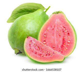 Isolated guavas. One whole guava fruit, a half and a slice with pink flesh isolated on white background
