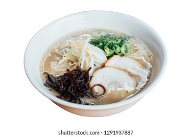 Isolated Hakata style Shio Chashumen (Salt soup) including noodle, sliced barbecued pork, sprout, seaweed and scallion.