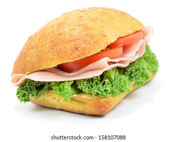 Isolated Ham and Tomato Roll