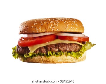 Isolated hamburger with onions tomato and ketchup