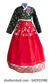 isolated Hanbok. Korean traditional dress.