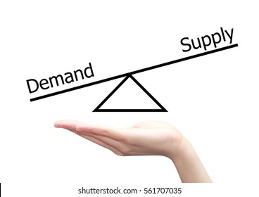 isolated hand with demand supply concept