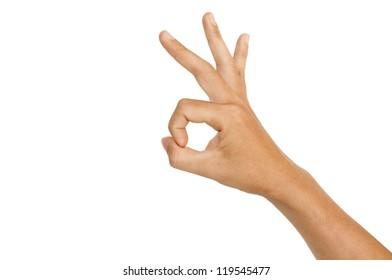isolated hand doing an okay sign, for okay concepts