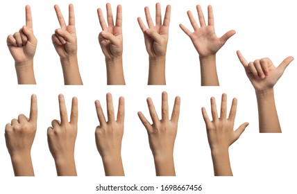 Isolated hand gestures and signals from Asian female child hand, multiple options. Includes clipping path.