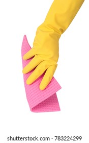 isolated hand with glove and sponge on white background