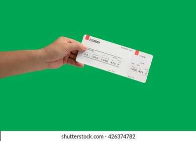 isolated hand holding Airline boarding pass tickets