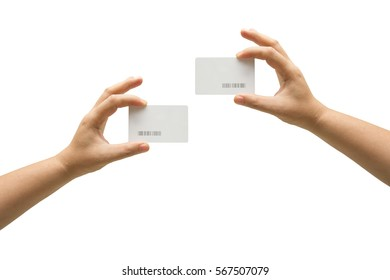 isolated hand holding credit card.