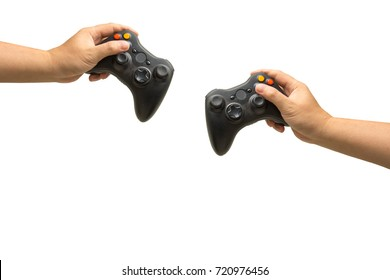 isolated hand holding joystick.