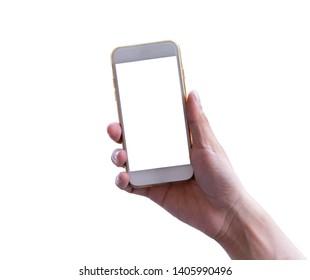 Isolated hand holding smart phone on white background