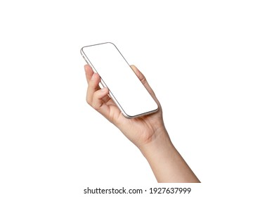 Isolated of Hand holding smartphone with blank screen frame on white background for mockup template. Mobile phone device concept.