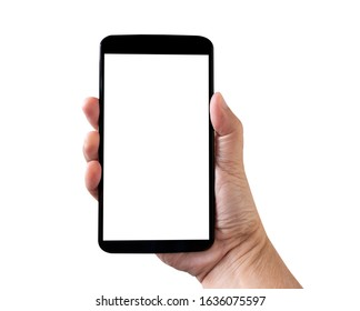 Isolated hand holding smartphone with white screen on white background.