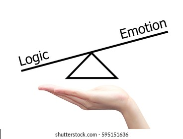 isolated hand with left right brain concept of logic and emotion
