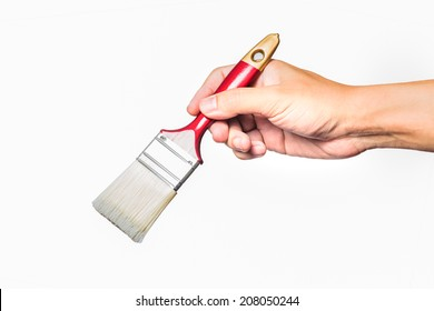 isolated hand with a paintbrush