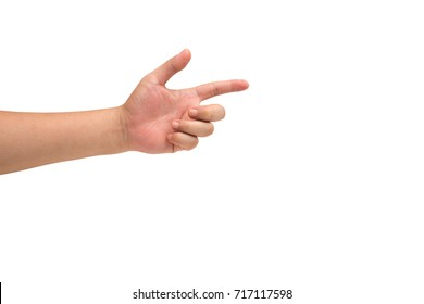 isolated hand pointing.