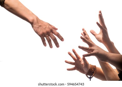 Isolated hand rescue gesture and groups of hands touching something or asking for help