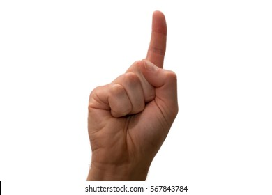 Isolated hand signal on white background, male adult hand pointing index finger, as if counting one 1, hand up, fingers curled, side on