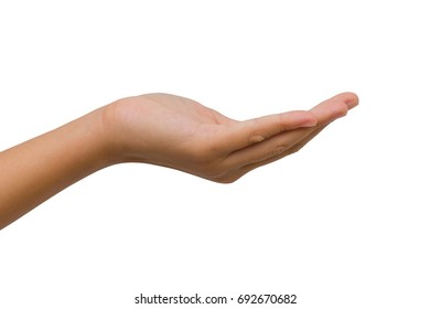isolated hand of twelve year old asian young girl palm up or supporting on white background. Clipping path. Insurance concept.