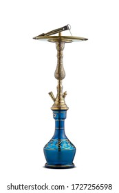 Isolated handcrafted engraved water pipe or hookah.