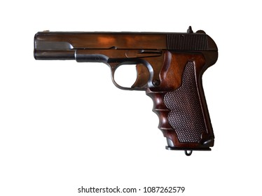 An isolated handgun over a white background.