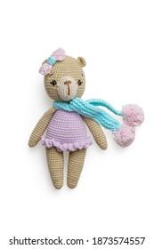 Isolated handmade bear children toy on white background