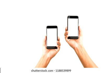 Isolated hands and blank screen smartphone on white background. Female hand holding modern black phone in vertical position.