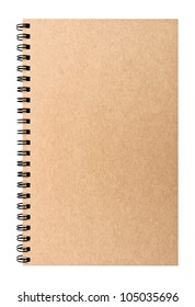 Isolated hard-cover brown notebook with clear space