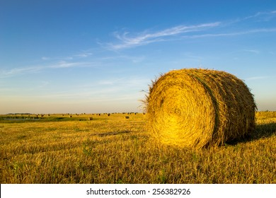 isolated hay bale on the right against a blue sky background with small hay bales in the background