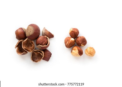 Isolated hazelnut kernels on white background. Top view. Cracked shell.