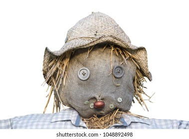 Isolated Head Of A Scarecrow On A White Background