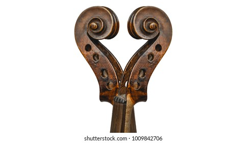isolated Heart scroll antique violins white background