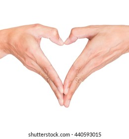 Isolated heart shape hands on white background. Representing love, romance, romantic, care; valentine and conservation