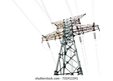 Isolated high voltage power tower on a white background