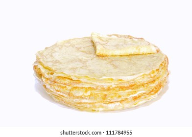 Isolated homemade pancakes with a white background.