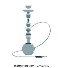 Isolated hookah on white background. Silver arabic smoking pipe. Eastern culture.