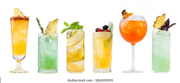 Isolated horizontal various cocktails beverage collage menu design