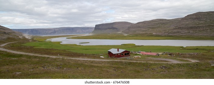 An isolated house in the fjords of northwestern Iceland